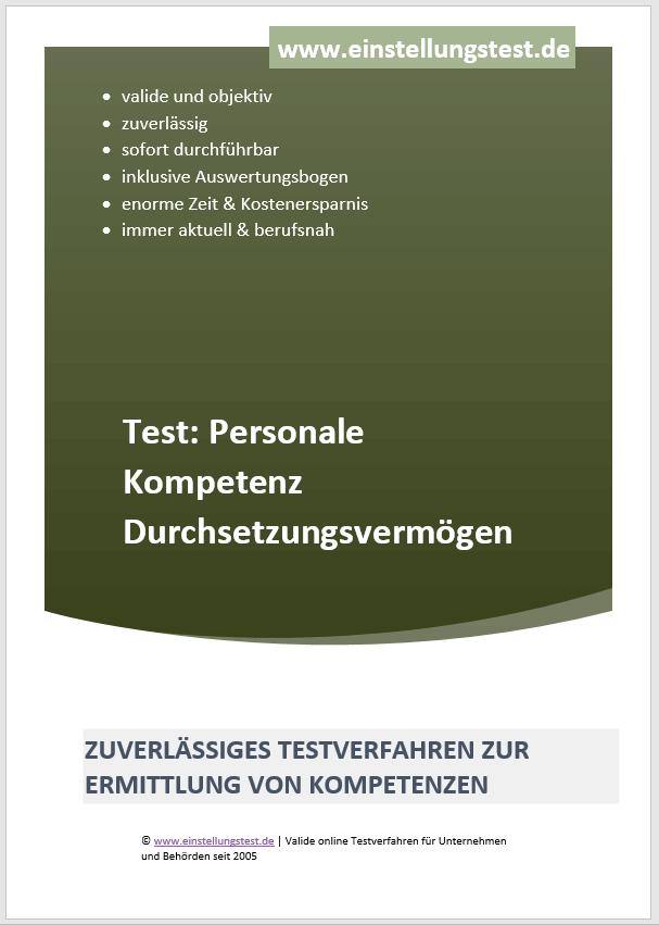 Einstellungstest im Auswahlverfahren: Personale Kompetenz Durchsetzungsvermögen